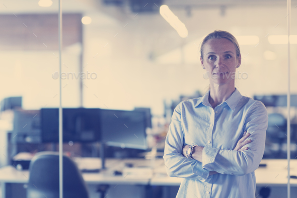 portrait of casual business woman at office - Stock Photo - Images