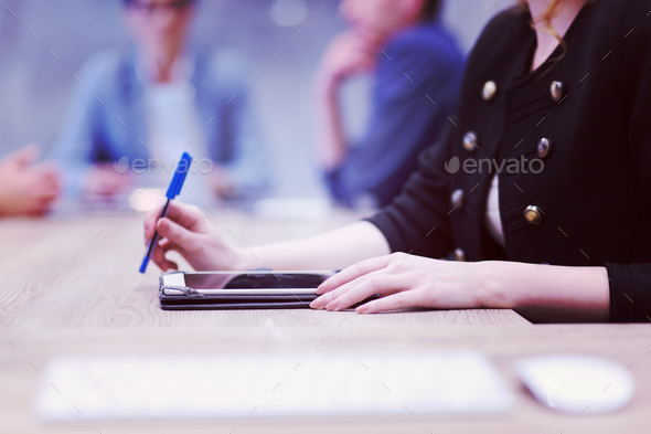 businesswoman hand using pen - Stock Photo - Images