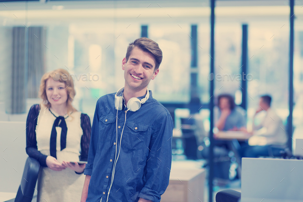 Business People Working With Tablet in startup office - Stock Photo - Images