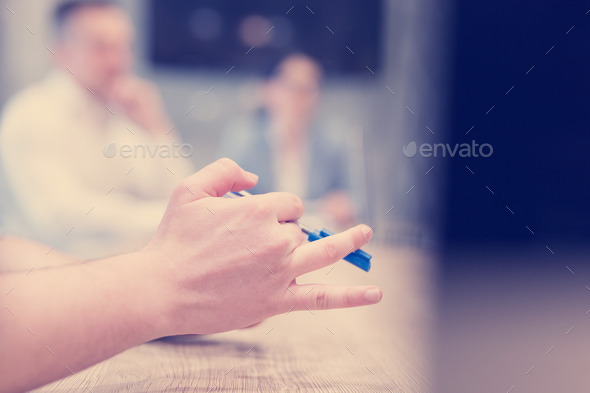 businessman hand using pen - Stock Photo - Images