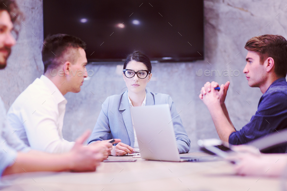 Startup Business Team At A Meeting at modern office building - Stock Photo - Images