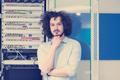 business man engeneer in datacenter server room - PhotoDune Item for Sale