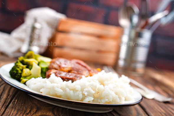 rice with meat and vegetables - Stock Photo - Images