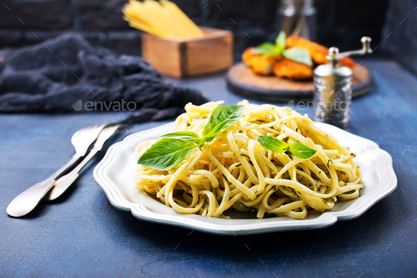 spaghetty with pesto - Stock Photo - Images