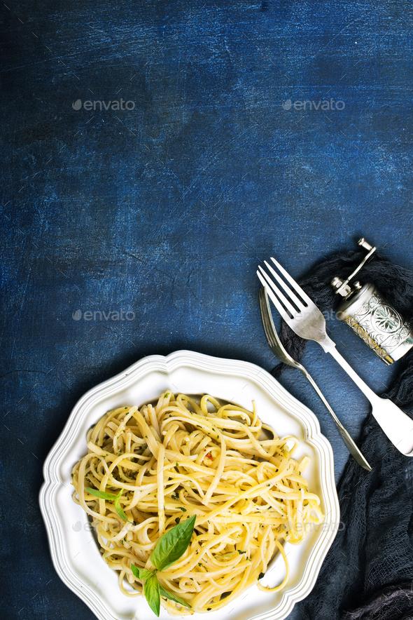 spaghetty with pesto - Stock Photo - Images