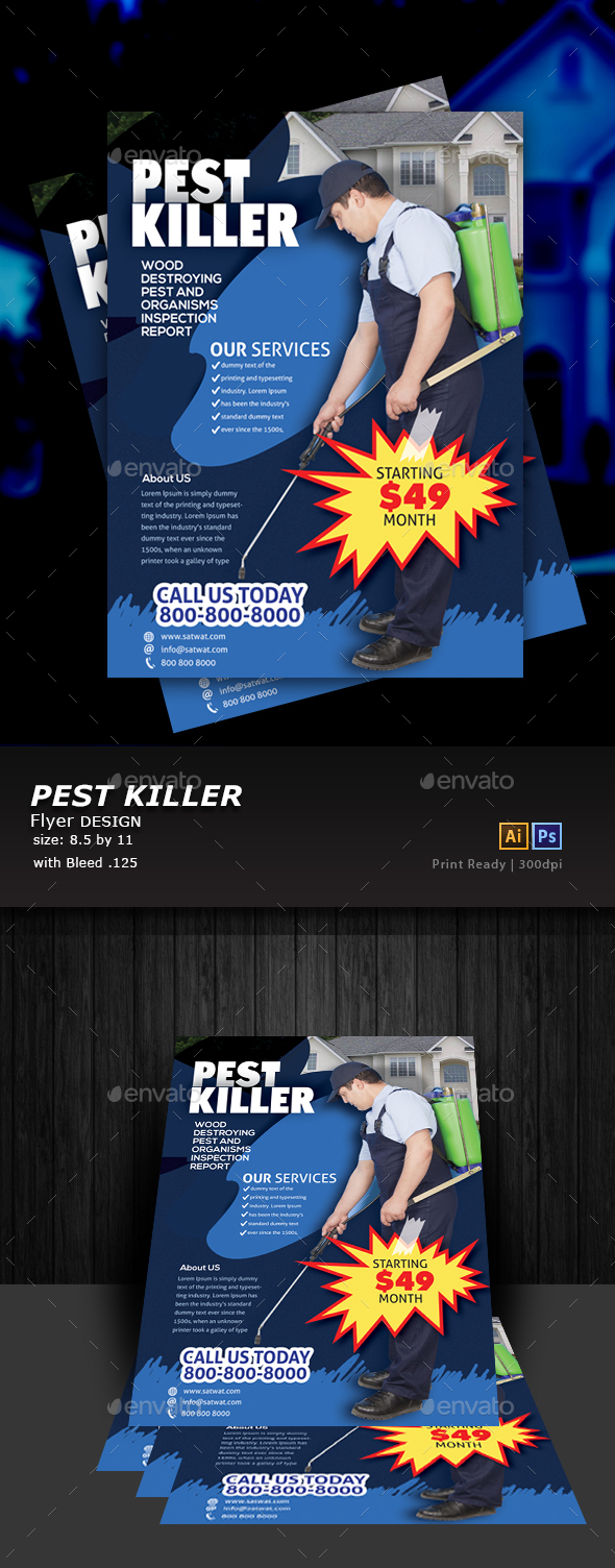 Pest Control Service Flyer Design - Flyers Print Templates
