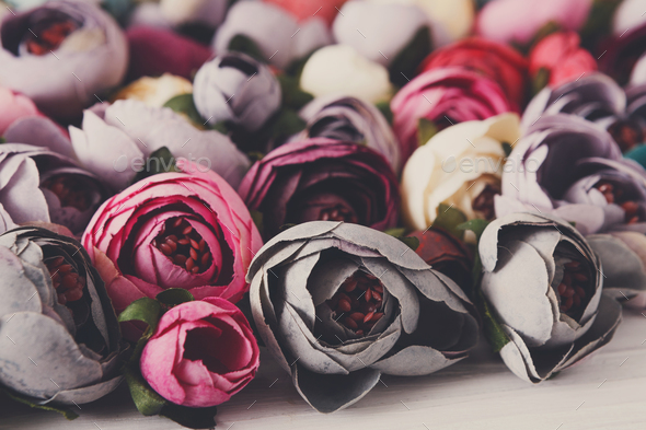 Beautiful artificial flowers variety - Stock Photo - Images