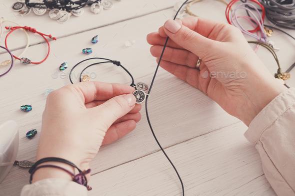 Handmade jewelry making, female hobby - Stock Photo - Images
