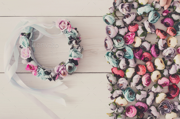 Beautiful headbands with flowers flat lay - Stock Photo - Images