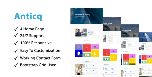 Anticq - One Page Parallax - Creative Site Templates