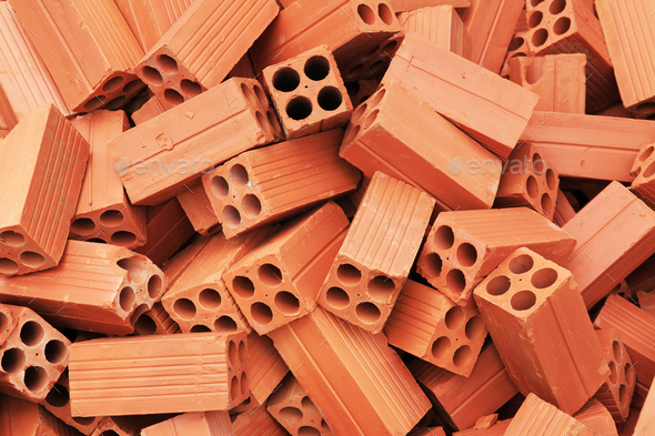 Heap of red brick - Stock Photo - Images