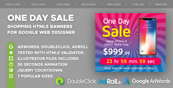 One Day Sale - Shopping HTML5 Banner Ad Templates (GWD) Free Download | Nulled