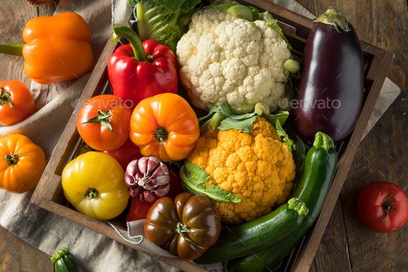 Healthy Organic Summer Farmers Market Box - Stock Photo - Images