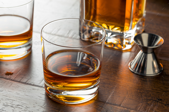 Delicious Bourbon Whiskey Neat - Stock Photo - Images