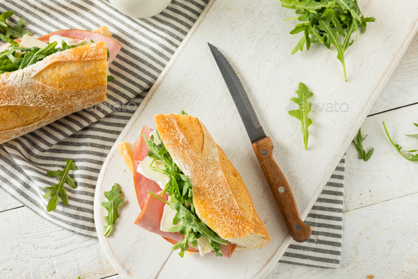 Homemade French Ham and Brie Baguette Sandwich - Stock Photo - Images