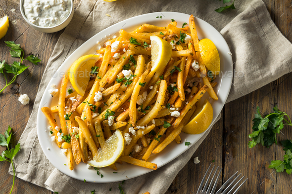 Homemade Greek Feta and Parsley Fries - Stock Photo - Images