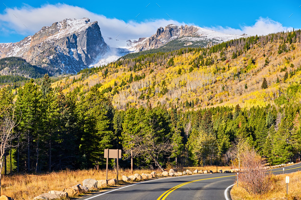 Highway at autumn in Colorado, USA. - Stock Photo - Images