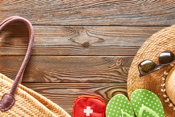 Travel and beach items still life - Stock Photo - Images