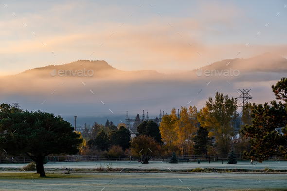 Sunrise foggy landscape in Colorado, USA - Stock Photo - Images