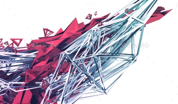 Abstract 3D Rendering of Polygonal Shape - Abstract 3D Renders