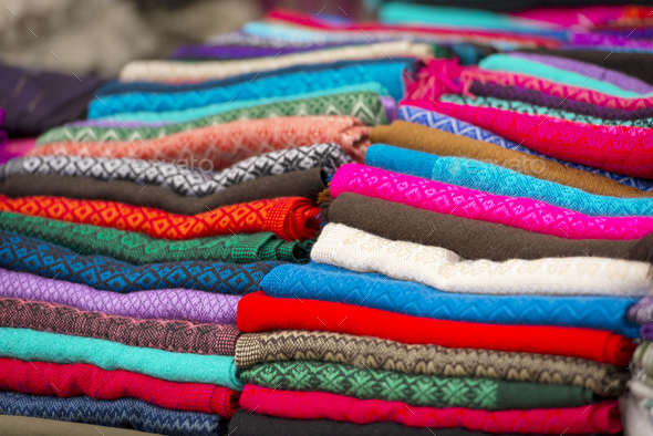 Colorful Material In Mexico Market - Stock Photo - Images