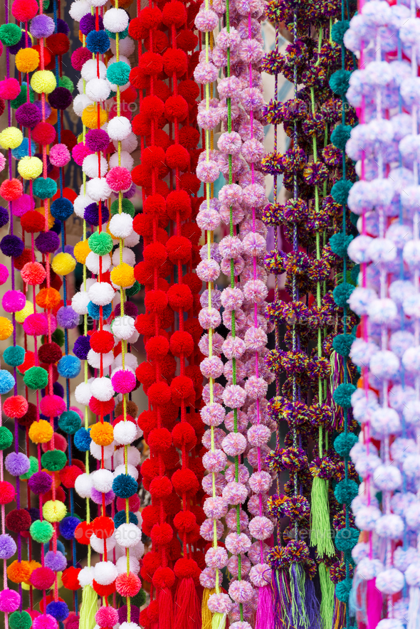 Decorative Pom-Poms As Background Texture - Stock Photo - Images