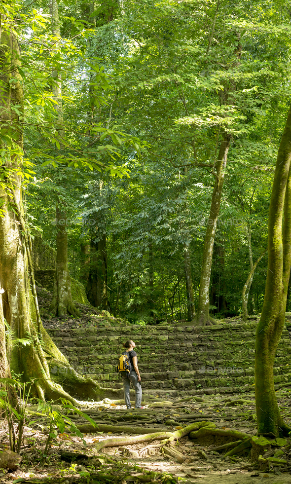Woman Exploring Jungle Ruins - Stock Photo - Images