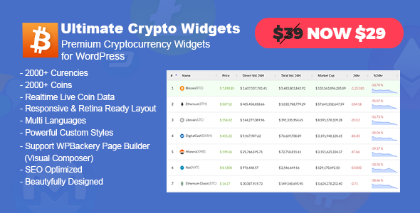 Ultimate Crypto Widgets - Premium Cryptocurrency Widgets for WordPress - CodeCanyon Item for Sale