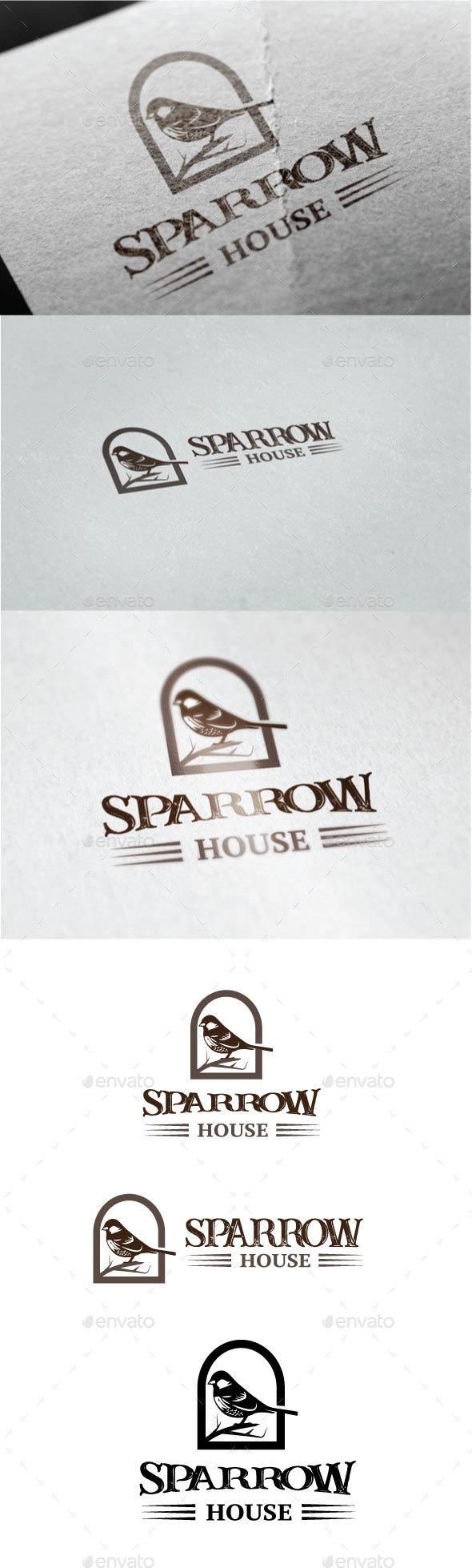Sparrow House Logo - Animals Logo Templates