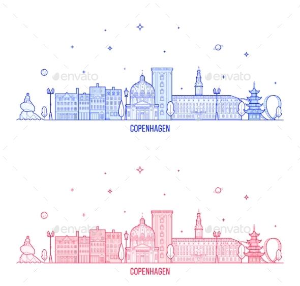 Copenhagen Skyline, Denmark City Buildings Vector - Buildings Objects