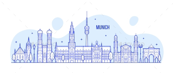 Munich Skyline, Germany City Buildings Vector - Buildings Objects