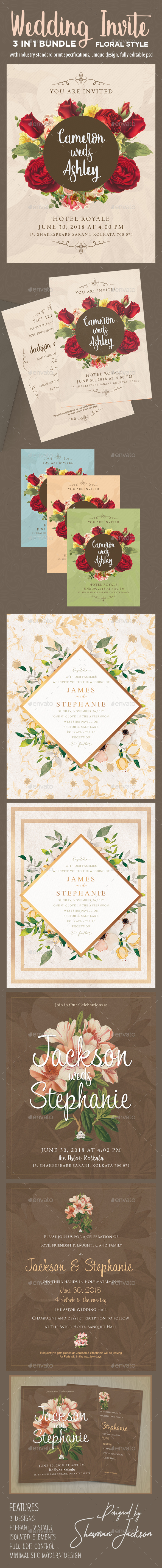 Floral Wedding Invitation Bundle - Weddings Cards & Invites