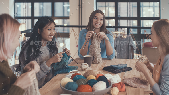 Smiling girls in studio - Stock Photo - Images