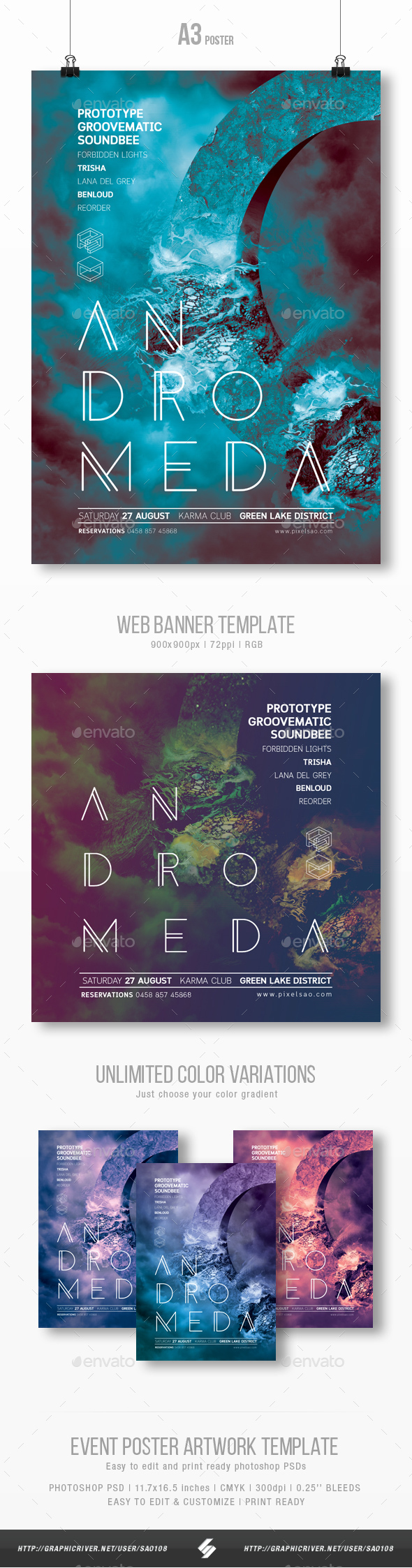 Andromeda - Progressive Party Flyer / Poster Artwork Template A3 - Clubs & Parties Events