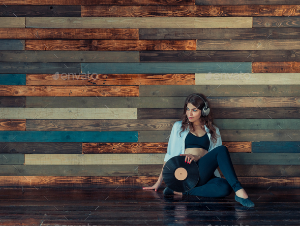 Attractive woman with headphones - Stock Photo - Images