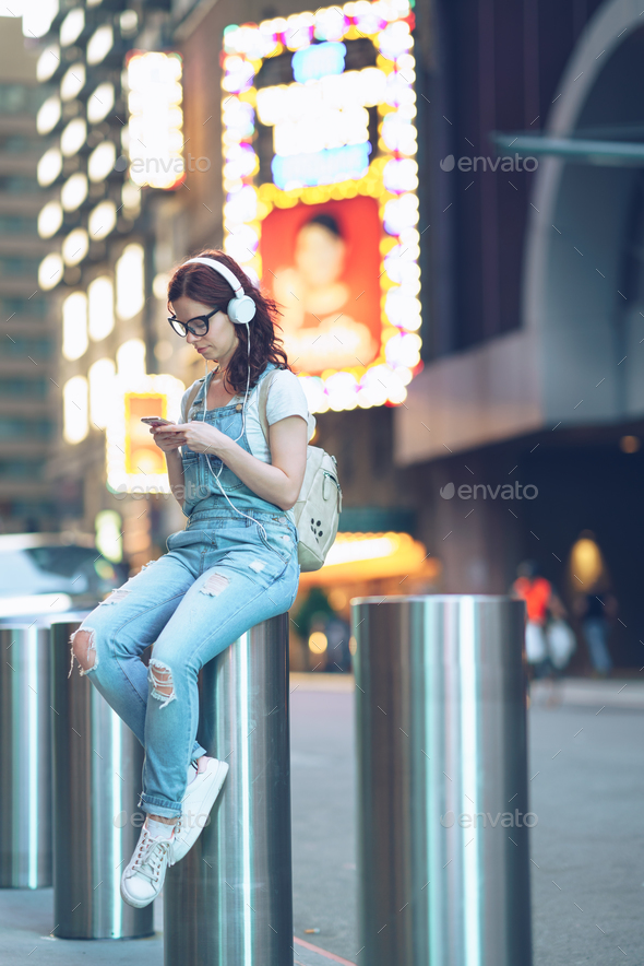 Young woman in Manhattan - Stock Photo - Images