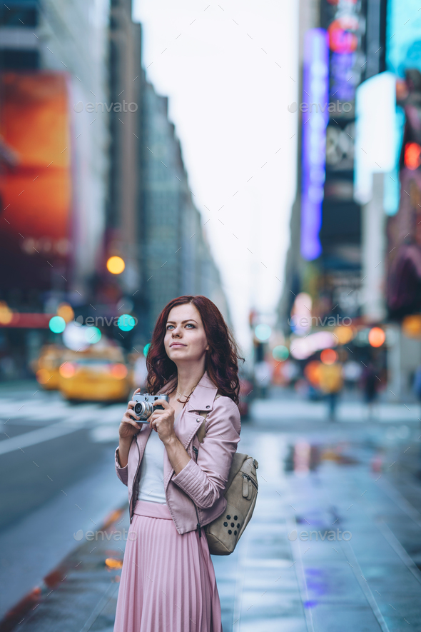 Young girl in New York - Stock Photo - Images
