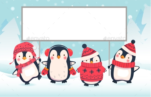 Two Penguins Holding Banner - Miscellaneous Vectors