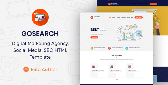 Gosearch - Digital Marketing Agency, SEO HTML Template