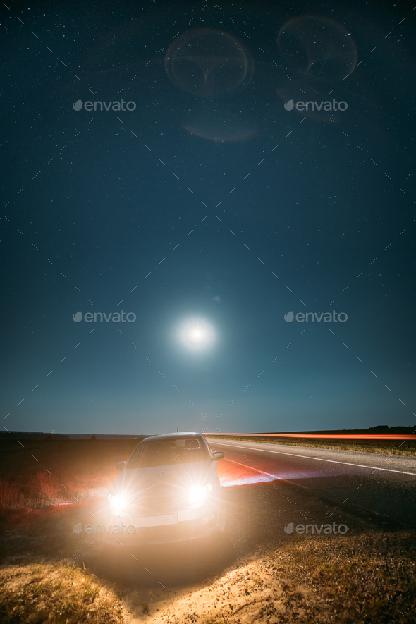 Night Starry Sky Above Country Asphalt Road In Countryside. Seda - Stock Photo - Images
