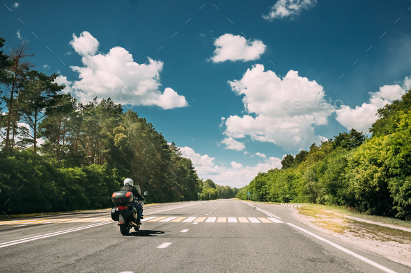 Rider On Motorbike, Motorcycle Bike In Motion On Country Road. M - Stock Photo - Images