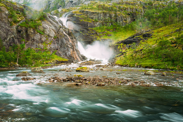 Beautiful Waterfall In Valley Of Waterfalls In Norway. - Stock Photo - Images