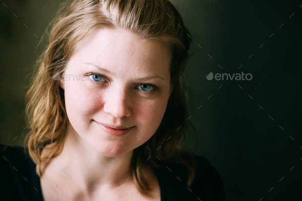 Close Up Portrait Of Young Beautiful Pretty Caucasian Girl Woman - Stock Photo - Images