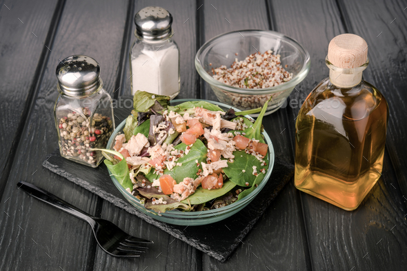 salad on black wooden board - Stock Photo - Images