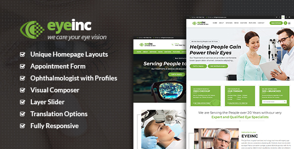 Image of EyeInc - Optometrist WordPress Theme
