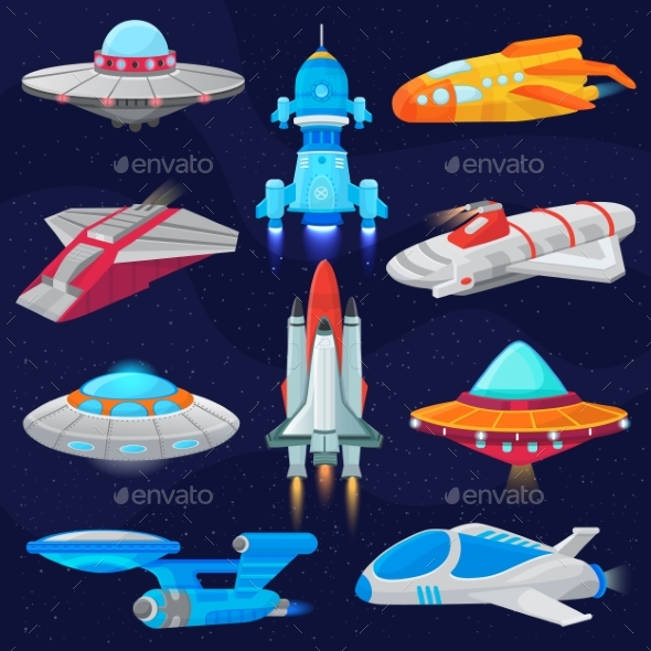 Rocket Vector Spaceship or Spacecraft and Spacy - Technology Conceptual
