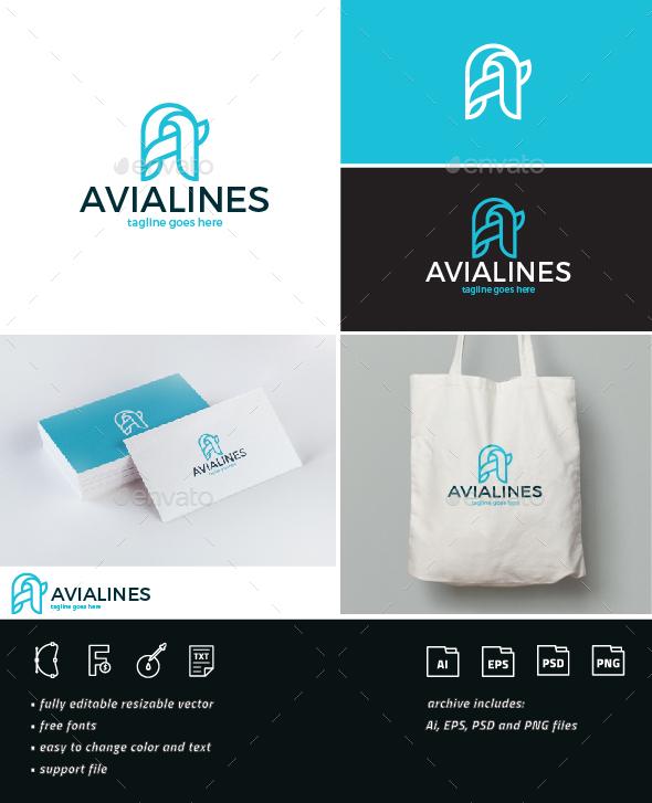 Avia Lines Logo • Letter A - Letters Logo Templates