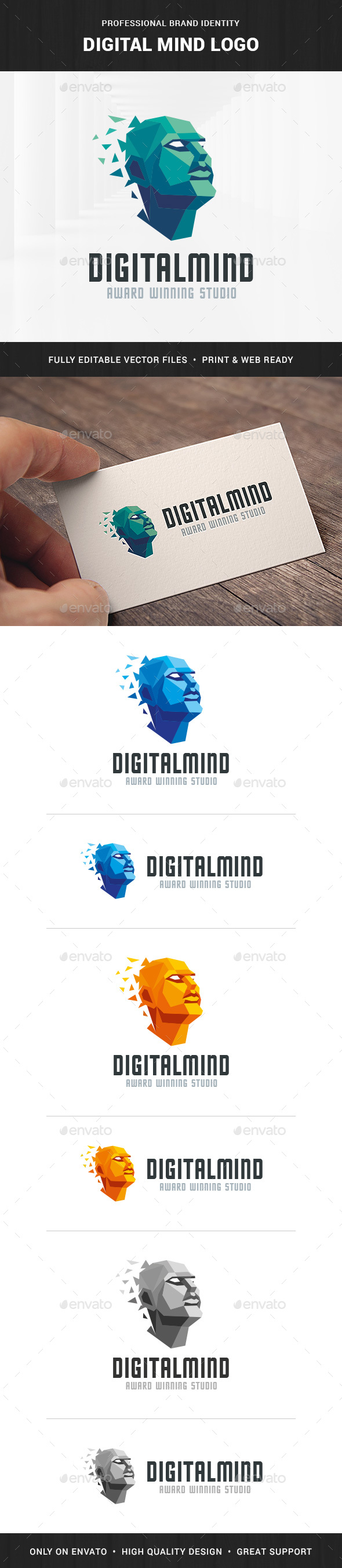 Digital Mind Logo Template - Humans Logo Templates