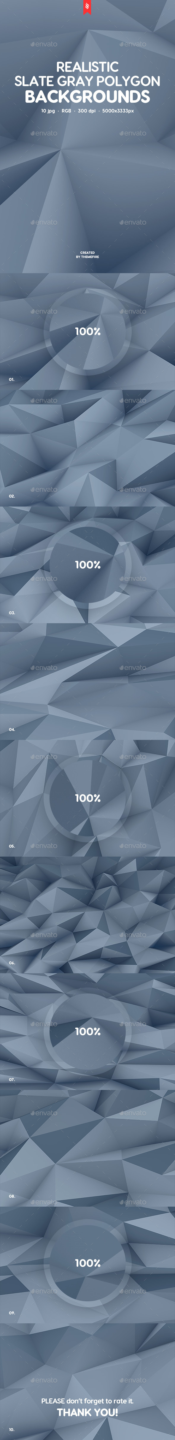 Realistic Slate Gray Polygon Backgrounds - Backgrounds Graphics