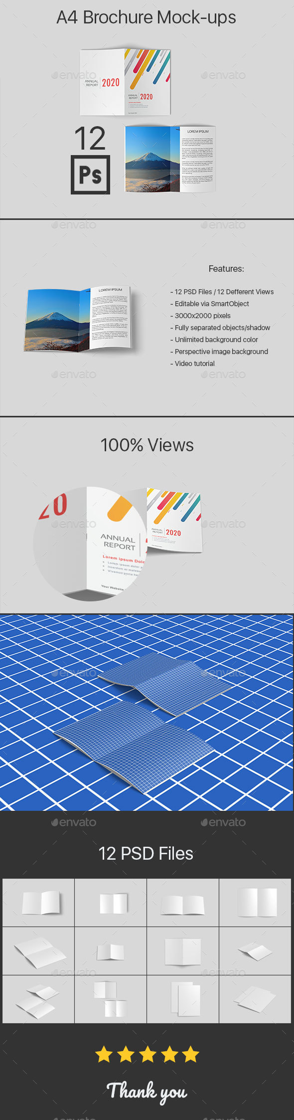 A4 Brochure Mock-ups 12 PSD Files - Product Mock-Ups Graphics